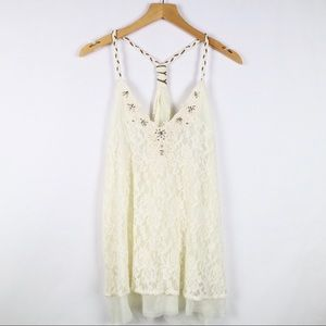 Miss Me beaded lace ivory racerback tank